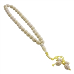 Islamic Egg Shell Color Islamic Rosary 33 Prayer Beads Misbaha with Horizontal Silver Stripe Design
