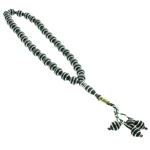 33 Count Dark Green Islamic Rosary Prayer Beads Tasbih with Horizontal Silver Stripe Design