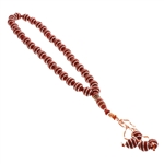 33 Count Maroon Islamic Rosary Prayer Beads Tasbih with Horizontal Silver Stripe Design