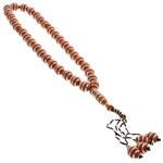33 Count Red-Brown Islamic Rosary Prayer Beads Tasbih with Horizontal Sliver Stripe Design