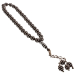 33 Count Brown Islamic Rosary Prayer Beads Tasbih with Horizontal Silver Stripes