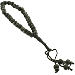 33 Count Gray and Forest Green Islamic Rosary Prayer Beads Tasbih