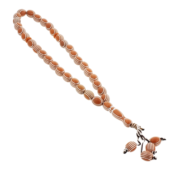 33 Count Pale Orange Islamic Rosary Prayer Beads Tasbih with Horizontal Sliver Stripe Design