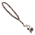 33 Count Dark Brown Islamic Rosary Prayer Beads Tasbih with Horizontal Silver Stripe Design