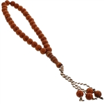 33 Count Dark Brown Islamic Rosary Prayer Beads Tasbih with Black Tribal Design