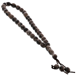33 Count White and Brown Islamic Rosary Prayer Beads Tasbih