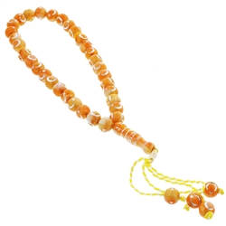 33 Count Orange and White Marbled Islamic Rosary Prayer Beads Tasbih with Star and Crescent Design