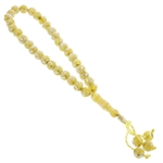 33 Count Translucent Yellow Islamic Rosary Prayer Beads Tasbih with Star and Crecent Design