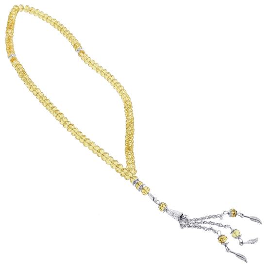 99 Count Yellow Glass Crystal Islamic Rosary Prayer Beads Misbaha
