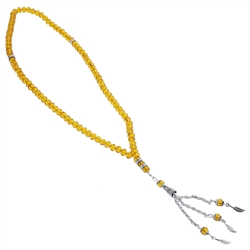 99 Count Yellow Citrine Colored Glass Islamic Rosary Prayer Beads Misbaha