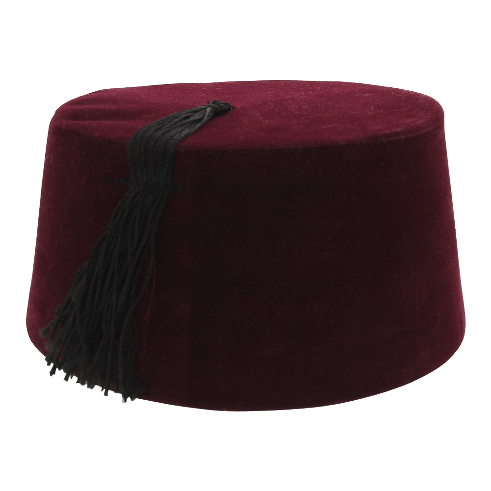 Male Headgear Tarbouch Fez Hat Burgundy With Black Tassel