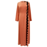 Bright Peach Abaya Long Maxi Formal Dress