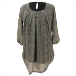 Gray Denim Print Collarless Women's Short Sleeve Two Layer Tunic Top