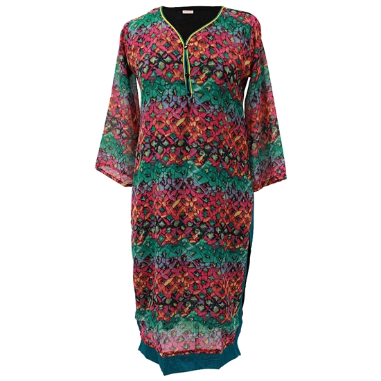 Interlocking Green and Red Floral Print Collarless Women's Long Sleeve Tunic Top Kurti