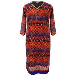 Interlocking Red and Purple Floral Print Collarless Women's Long Sleeve Tunic Top Kurti