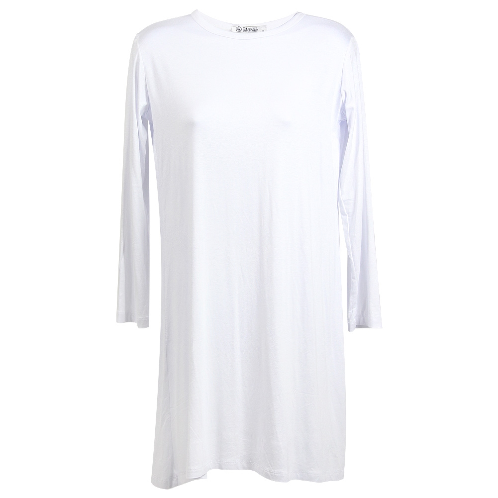 Plain White Long Sleeve Women's Short Sleeve Tunic Top T-Shirt ...