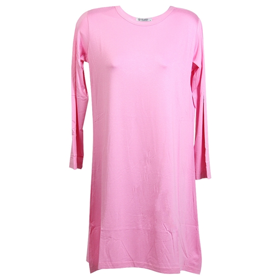 Bubblegum Pink Long Sleeve Women's Short Sleeve Tunic Top T-Shirt