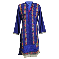 Floral Embroidered Long Sleeve Extended Kurti Tunic Top with Collar