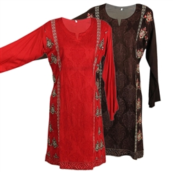 Morrocan Inspired Embroidered Long Sleeve Collarless Kurti Tunic Top
