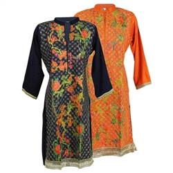 Chinese Inspired Floral Embroidered Long Sleeve Kurti Tunic Top