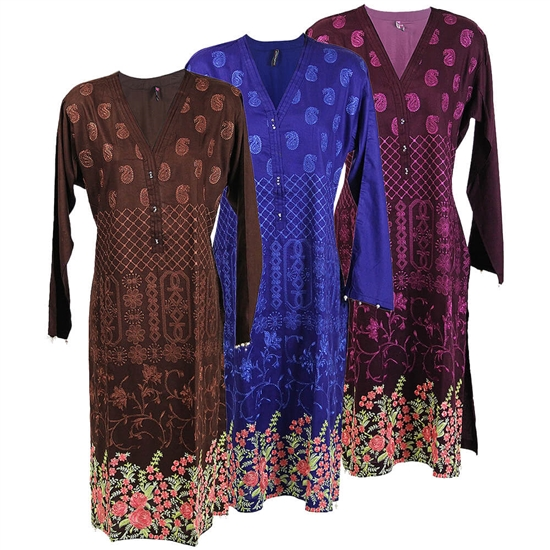 Jacquard Embroidered Long Sleeve Floral Tail Low Cut Kurti Tunic Top