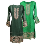 Floral Crest and Sheer Long Sleeve Collarless Kurti Tunic Top