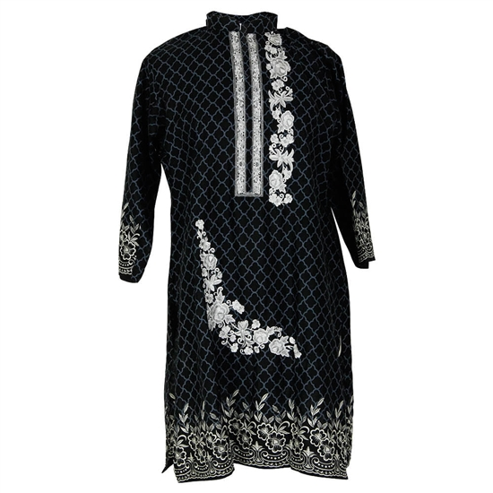 Black and Gray Embroidered Floral Tunic Top Women's Kurti