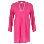 Pink Long Sleeve V Neck Kurti with Chest Embroidery Women's Tunic Top
