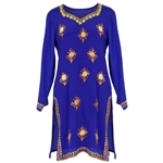 Blue Embroidered Tunic Top Women's Kurti with Yellow Stichting Patterns