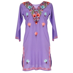Lavender Women's Kurti Tunic Top with Floral Embroidered Neck and Borders