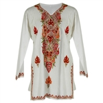 White Women's Kurti Tunic Top with Floral Embroidered Neck and Borders Size 40