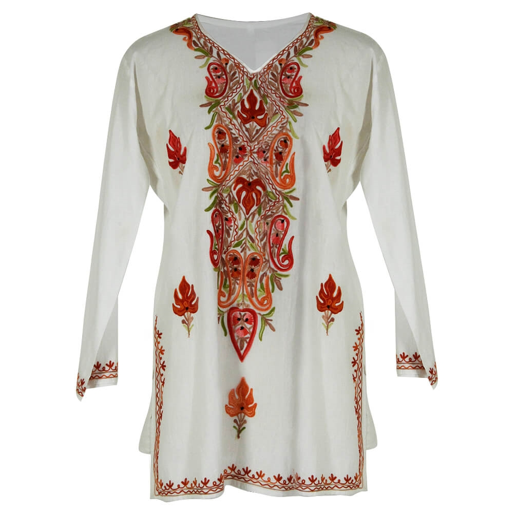 White Womens Kurti Tunic Top With Floral Embroidered Neck And