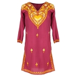 Maroon Women's Tunic Top Kurti with Large Yellow Foral Embroidery