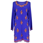Blue Embroidered Tunic Top Women's Kurti with Floral Stichting Patterns