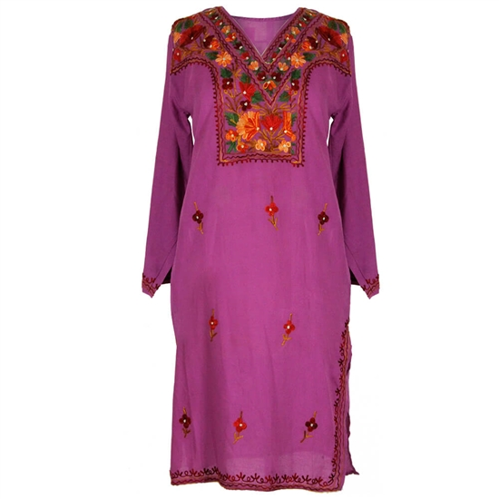 Purple Women's Tunic Top Kurti with Chest and Border Embroidery