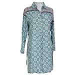 Blue Diamond Print Women's Long Sleeve Formal Blouse Kurti with Backtie