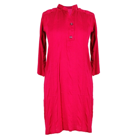 Magenta Short Sleeve Women's Blouse Kurti Top with Mandarin Style Collar