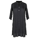 Black Embroidered Half Sleeve Women's Blouse Kurti Top with Mandarin Style Collar