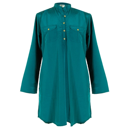 Womens Military Style Blouse Kurti Top with Chest Pockets and Mandarin Collar Size L