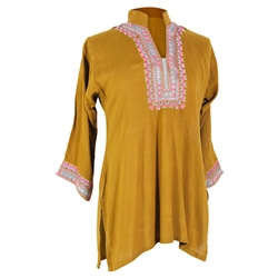 Mustard Brown Women's Blouse Kurti Top with Embroidered Chest and Cuffs