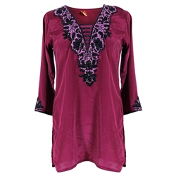 Magenta Colored Deep Neck Line Women's Blouse Embroidered Kurti Top Size M