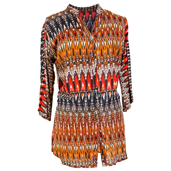Pattern Print Long Sleeve Women's Blouse Kurti Top
