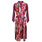 Purple and Red Print Women's Long Kurti Top