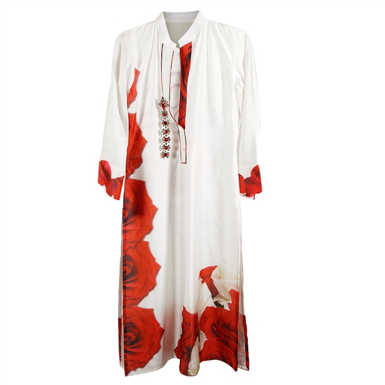 White and Red Print Women's Long Kurti Top
