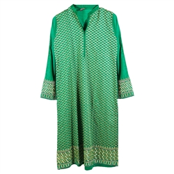 Green Traditional Women's Casual Kurti Top with White Diamond Embroidery Size S