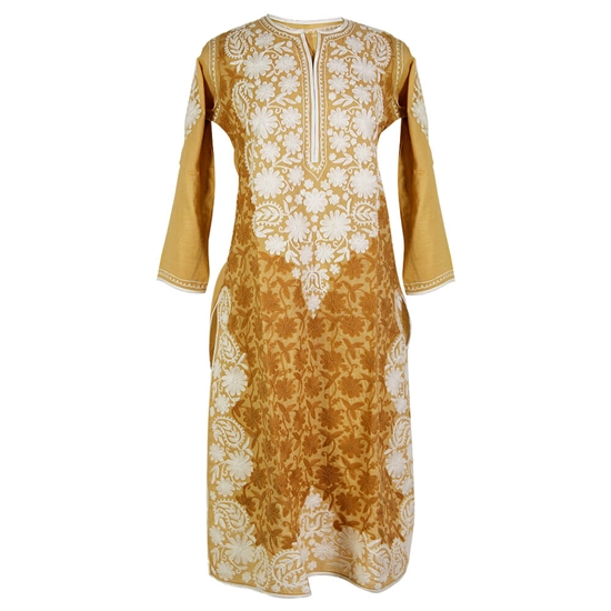 Brown Women's Long Blouse Kurti Top with White Hand Embroidered Floral Patterns Size L