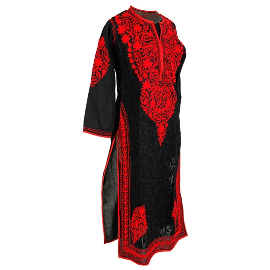 Black Women's Long Blouse Kurti Top with Hand Embroidered Red Floral Patterns Size L
