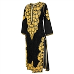 Black Women's Long Blouse Kurti Top with Hand Embroidered Golden Floral Patterns Size M