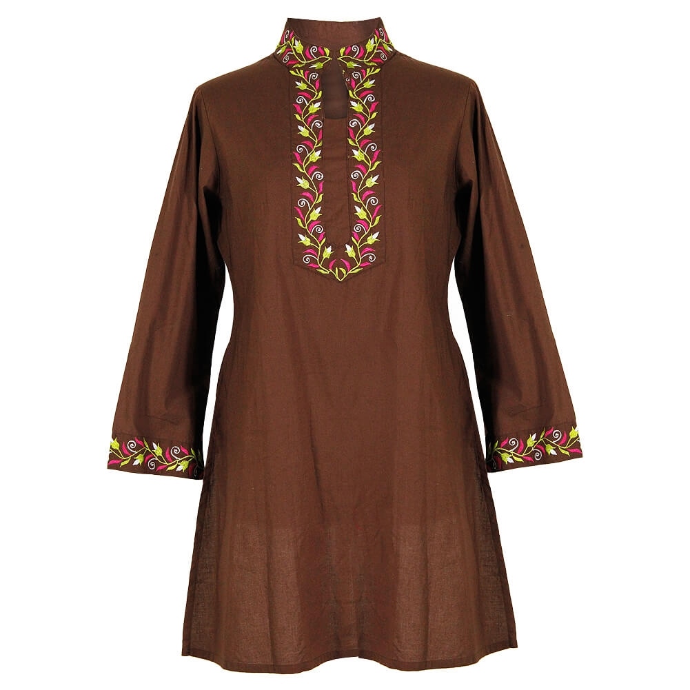 508a7447355 Brown Women's Tunic Top Kurti with Pink and Green Embroidered Neck and  Cuffs Size L