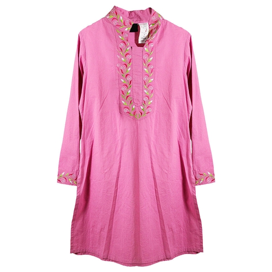 Pink Women's Tunic Top Kurti with Pink and Green Embroidered Neck and Cuffs Size M
